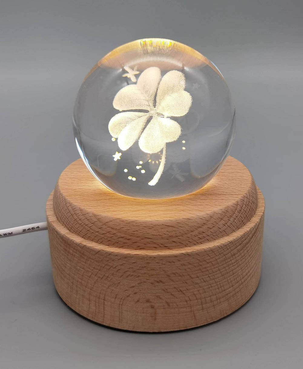 3D Laser Etched Crystal Ball Night Light(70mm),Projection Ball Night Lamp,LED Light On Wooden Base, Best Gift for Birthday and Christmas (Four-Leaf Clover)