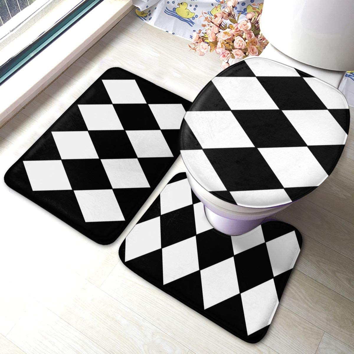 DING Large Black and White Harlequin Diamond Soft Comfort Flannel Bathroom Mats 3pcs Set Non-Slip Rugs Absorbent Toilet Seat Cover Bath Mat Lid Cover