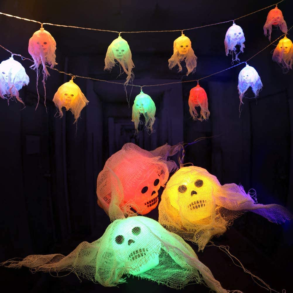 TiSkying Halloween Skeleton String Lights, Decorations Battery Operated Waterproof LED Hanging String Light Decor for Halloween Decorations Outdoor Indoor 5M