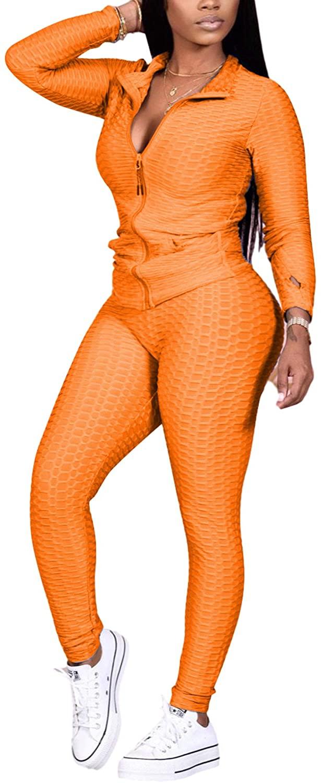 Track Suits for Women Set - Long Sleeve Solid Color Zip Up Sweatshirt Coat + Skinny Long Pants Tracksuits Set