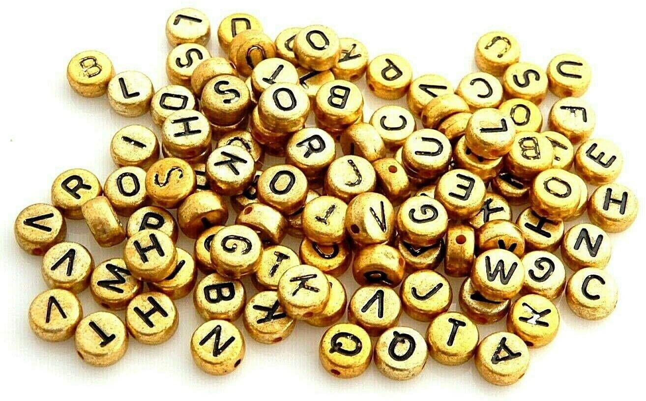 Beads - Jewelry Making - Beading - DIY Crafting 500 Kid's Economy Gold Letters ABC Alphabet 7mm Flat Round Acrylic Craft