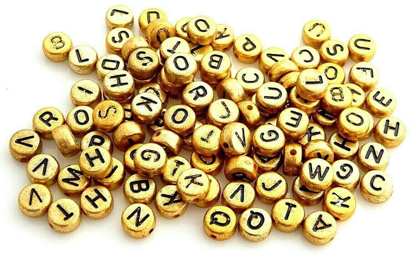 Beads - Jewelry Making - Beading - DIY Crafting 500 Kids Economy Gold Letters ABC Alphabet 7mm Flat Round Acrylic Craft