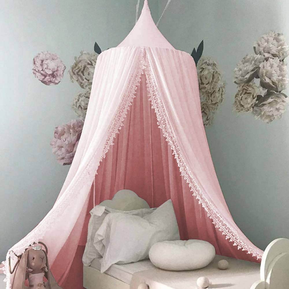 Piu Fashion Bed Canopy for Children Round Dome Kids Cotton Mosquito Net Hanging Curtain Baby Indoor Outdoor Play Reading Tent Bedroom Nursery Decoration