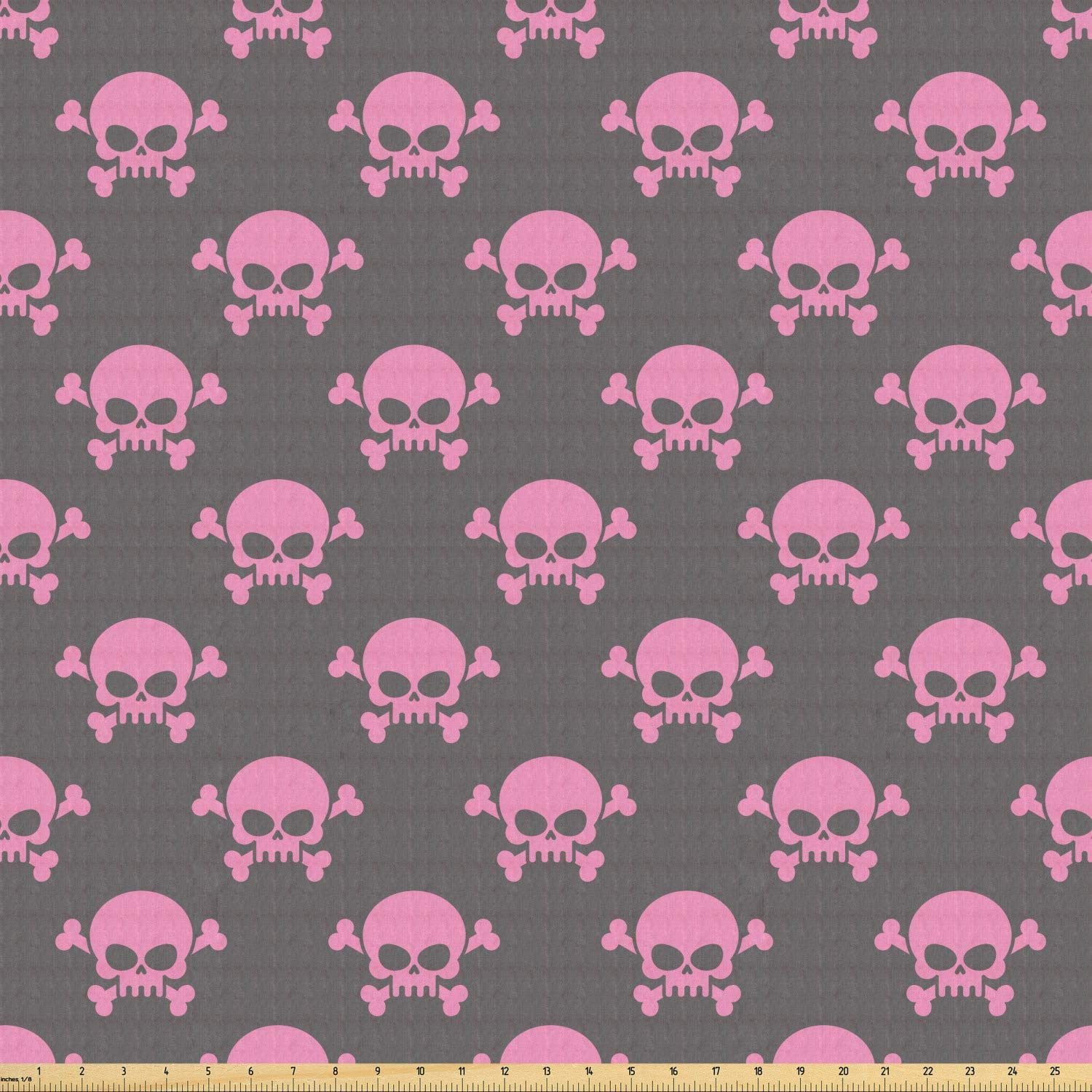 Lunarable Skull Fabric by The Yard, Vivid Pirate on Pale Background Head of a Skeleton and Bones Halloween Themed, Stretch Knit Fabric for Clothing Sewing and Arts Crafts, 1 Yard, Taupe Pink