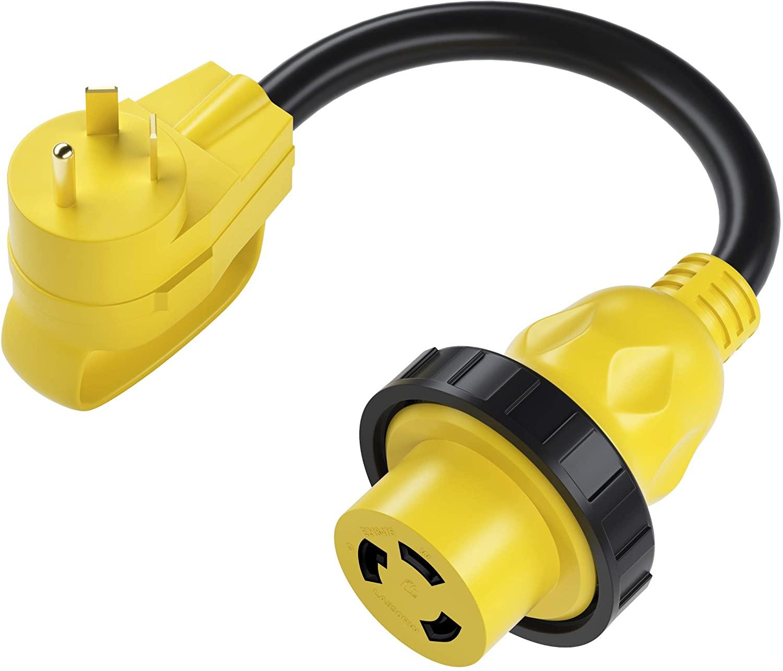 GearIT RV Dogbone Adapter - 30 AMP to 30 AMP Heavy Duty RV Cord - 30 AMP Male (NEMA TT-30P) to 30 AMP (NEMA L5-30R) Female Twist Locking Threaded Ring - 12 inch, 1 Foot