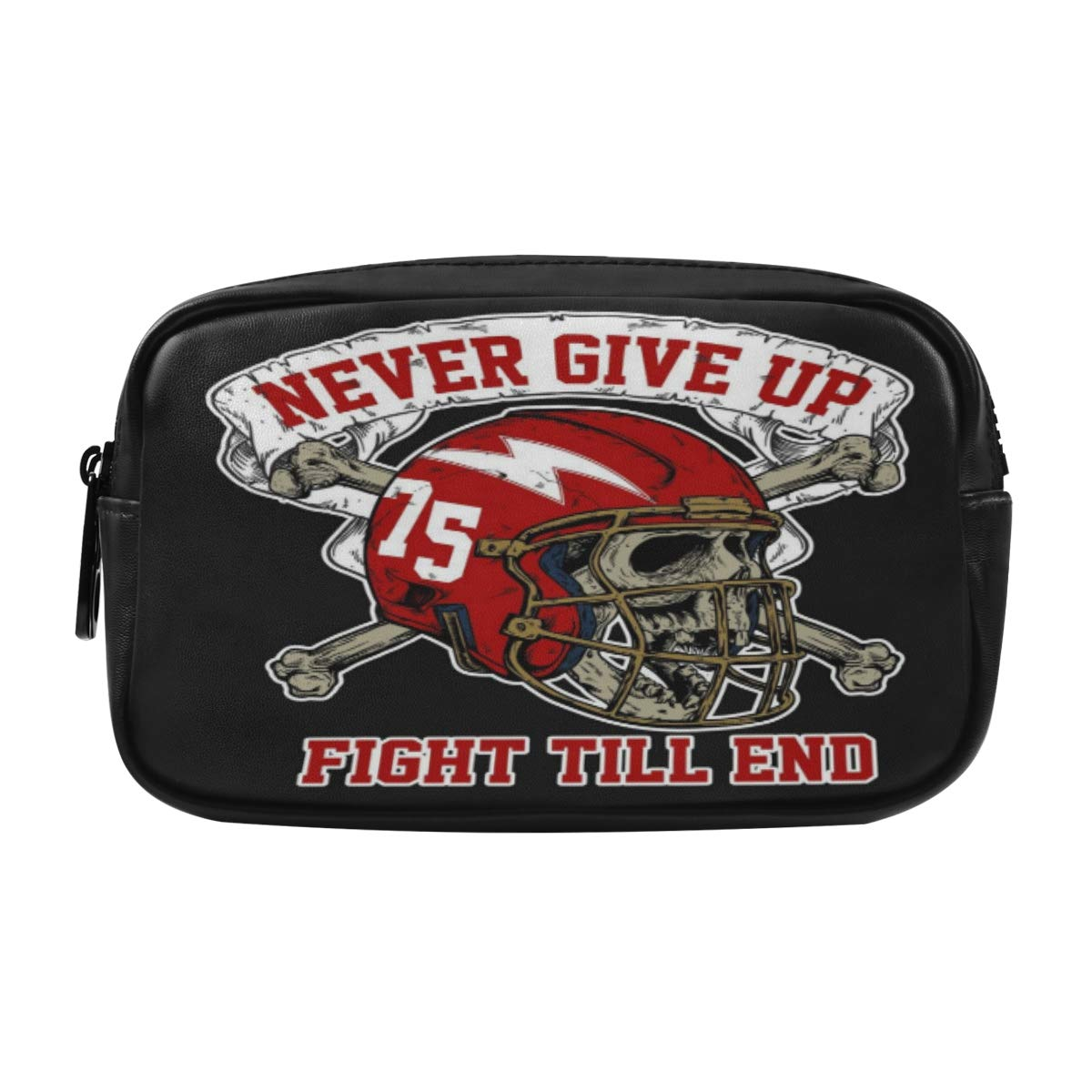 ALAZA Head Skull Wearing Football Helmet and Cross Bone Cosmetic Bag Leather Pencil Case Waterproof Portable Travel Makeup Pouch with Zipper for Women Girls Teens