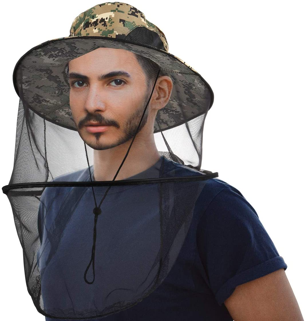 CozyCabin Mosquito Head Net Hat with Hidden Mesh, Outdoor Fishing Hat Sun Hat Repellent Protection from Insect Bug Bee for Outdoor Lover Men or Women(Green Digital Camouflage)