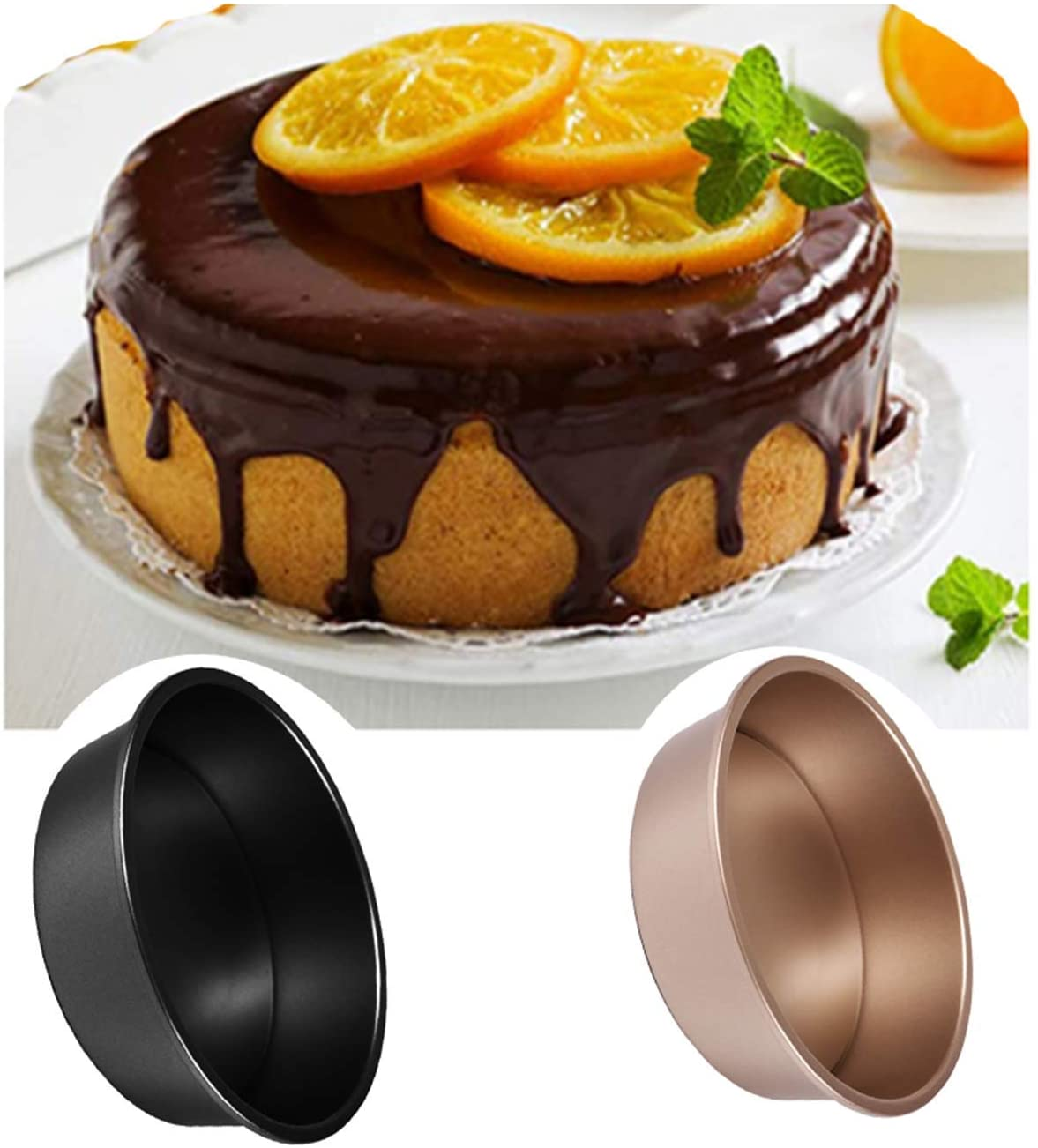 6/8Inch Round Cake Baking Mould Pan Tin Mold Tray Pastry Cake Decorating Tool Round Kitchen Baking Pastry Tool (Black/6