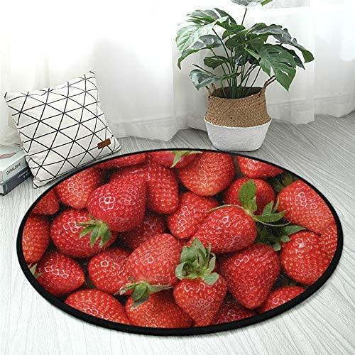 ALAZA Freshly Strawberries Fruit Round Area Rug Non Slip Rug Floor Mat Carpet Entryway Hallway Sofa Living Room Bedroom Home Deco