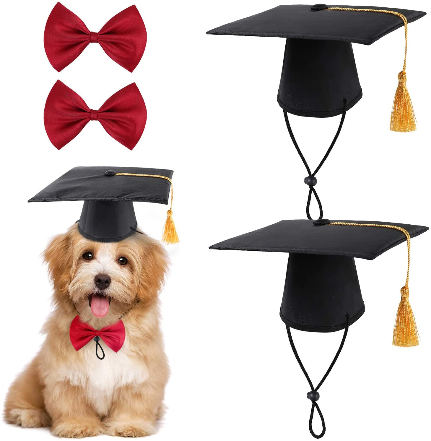 BENBO 2 Pcs Pet Graduation Caps with 2 Pcs Bow Tie Necktie Collar, Small Dog Graduation Hats with Yellow Tassel Pet Grad Costume for Dogs Cats Holiday Costume Party Favor