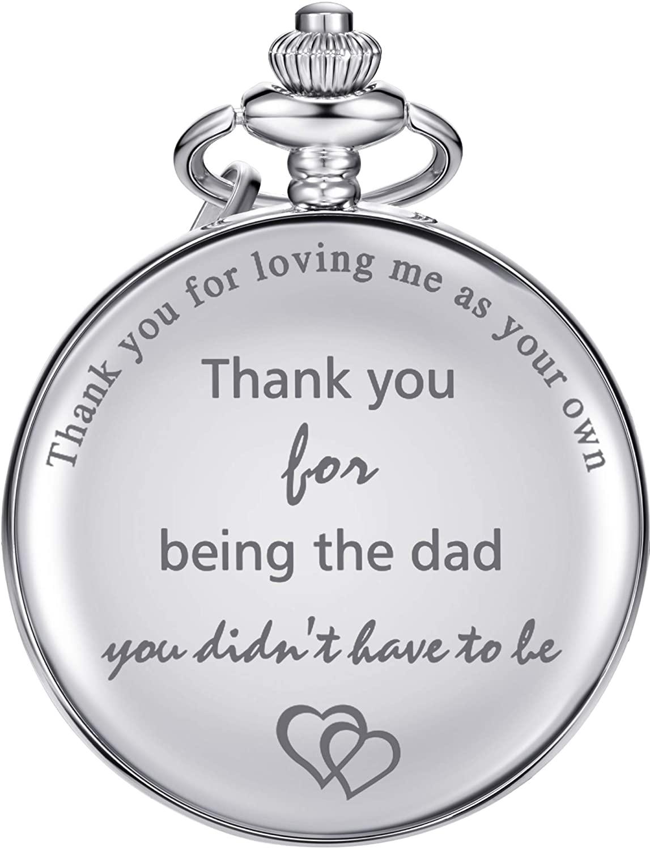 Dad Gifts Quartz Pocket Watch for Father-in-law, Stepdad birthday Christmas