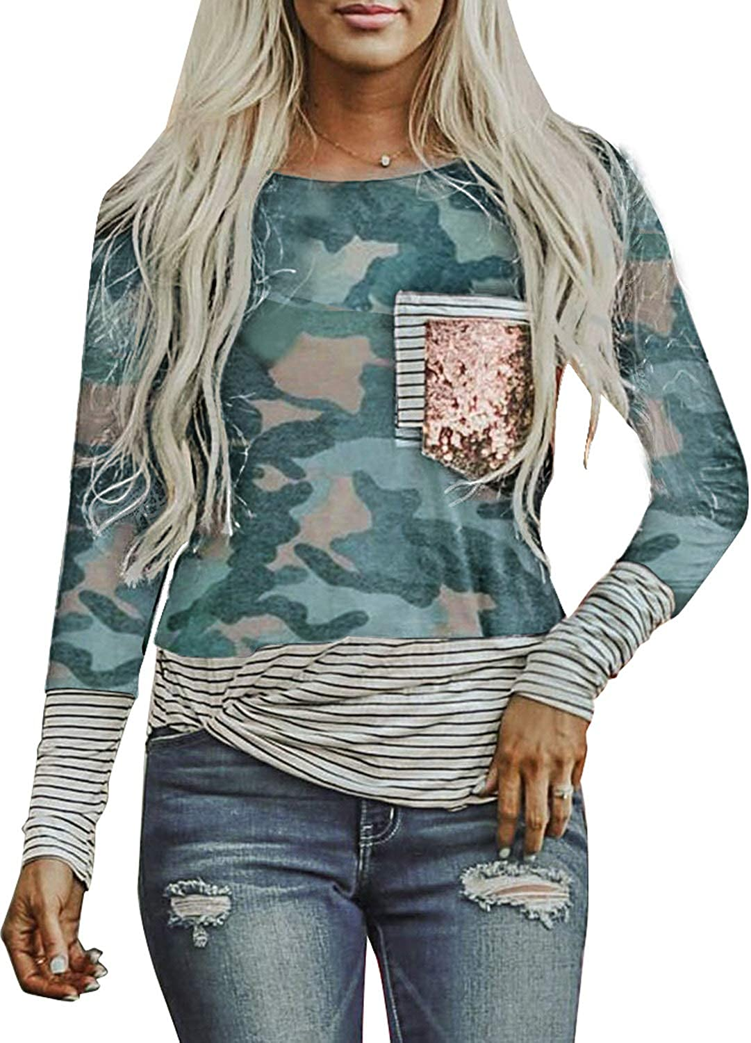 Pevilo Women's Fashion Stripe Pocket Sequins Splicing Long Sleeve Round Neck T-Shirt Top Pullover