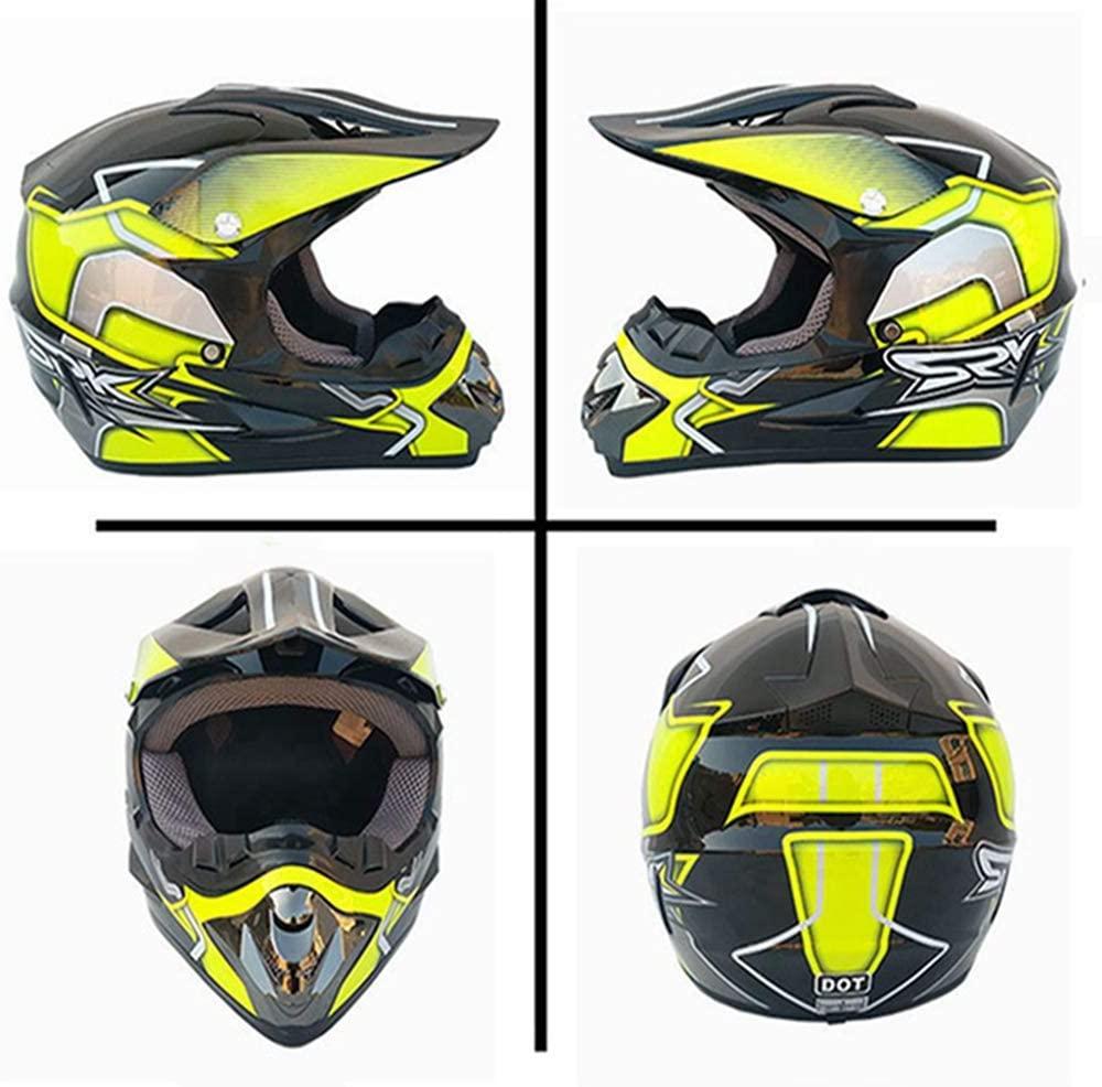 Adult Full Face Motorcycle Motocross Helmet Motorbike Helmet Men and Women Off Road Helmets Crash Helmet for Downhill Off Road Quad Bike Enduro Racing ATV Dirt (L)