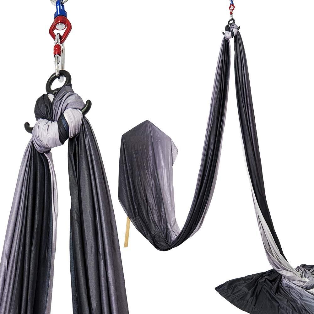 Yoga Fitness Bag, 11yd9.2ft air Yoga Swing Set .Yoga Hammock Set - Anti Gravity Ceiling Hanging Yoga Sling - Hook and Loop,Gradient .Birthday, Lady Gift, Best Health Gift.