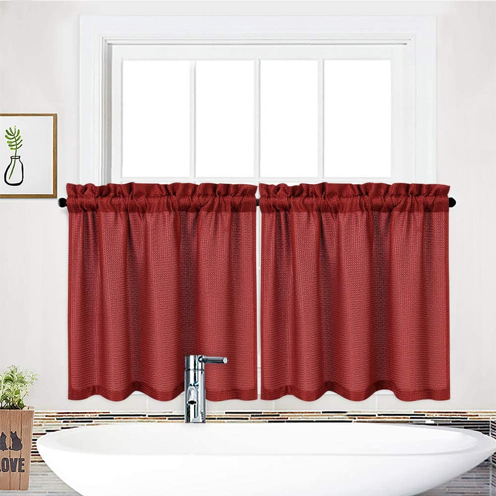 NANAN Tier Curtains,Waffle Weave Textured Rod Pocket Tailored Short Curtains for Bathroom Waterproof Window Covering Kitchen Cafe Curtains - 30