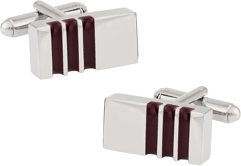 Cuff-Daddy Unique 3 Stripe Purple Red Wine Colored Enamel Cufflinks with Presentation Box
