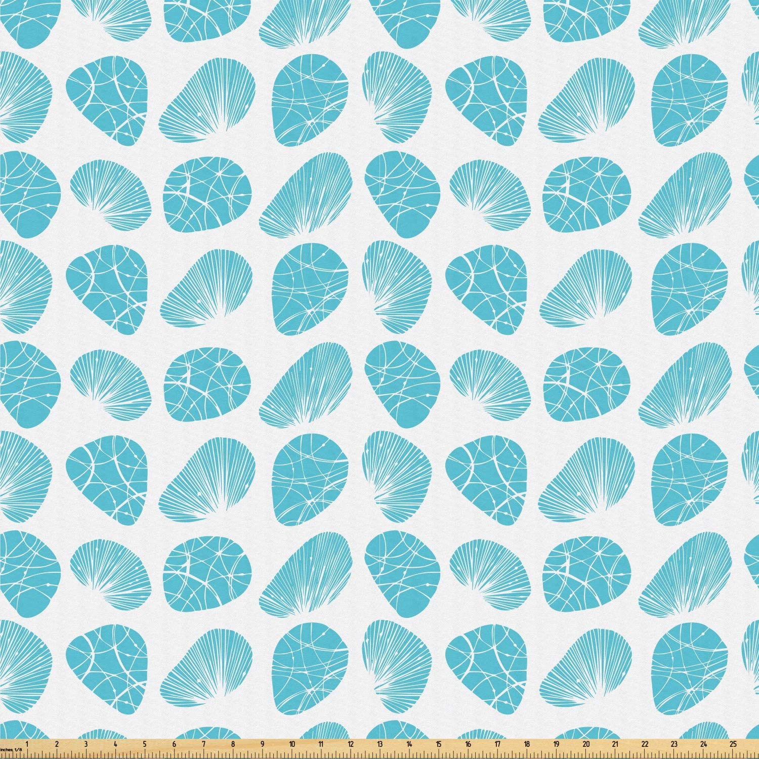 Ambesonne Shells Fabric by The Yard, Geometric Pattern of Seashell Sea Stone Scallop Sunray Venus and Cockle, Microfiber Fabric for Arts and Crafts Textiles & Decor, 1 Yard, Blue and White
