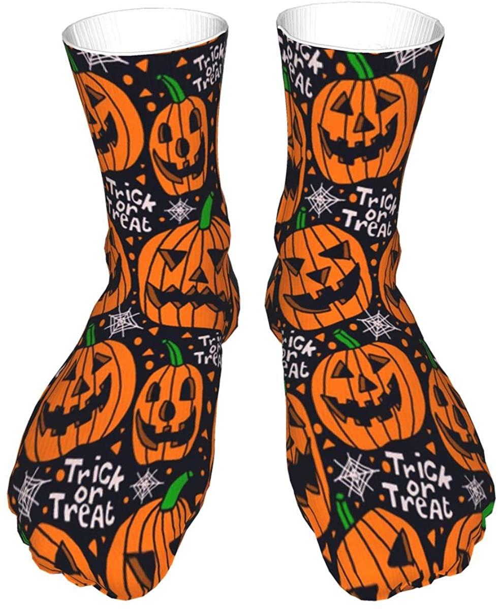 Dastair Halloween Socks Women&Men Halloween Pumpkins Trick or Treat Pattern Crew Socks Length Novelty Dress Thick Sock