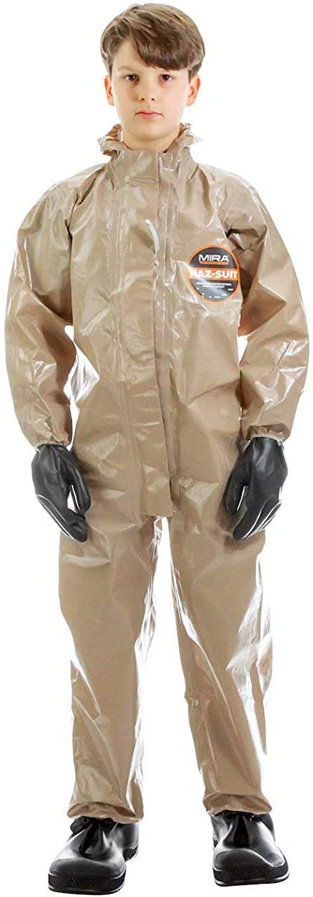 MIRA SAFETY Hazmat Suit Disposable Protective Coverall with Respirator-Fit Hood and Elastic Cuff Size (YS)