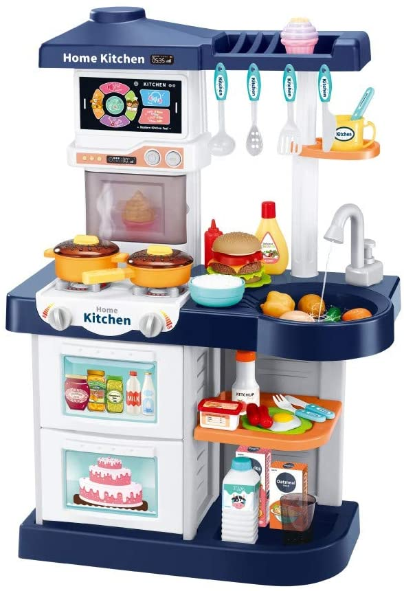 Kids Kitchen Playsets for Boys Girl with Sounds Smart Touch Screen and Remote Control Cooking Tableware Play Educational Gifts (Blue)