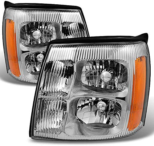 For Cadillac Escalade Chrome Clear HID Xenon Type Headlights Front Lamps Replacement Left + Right Pair