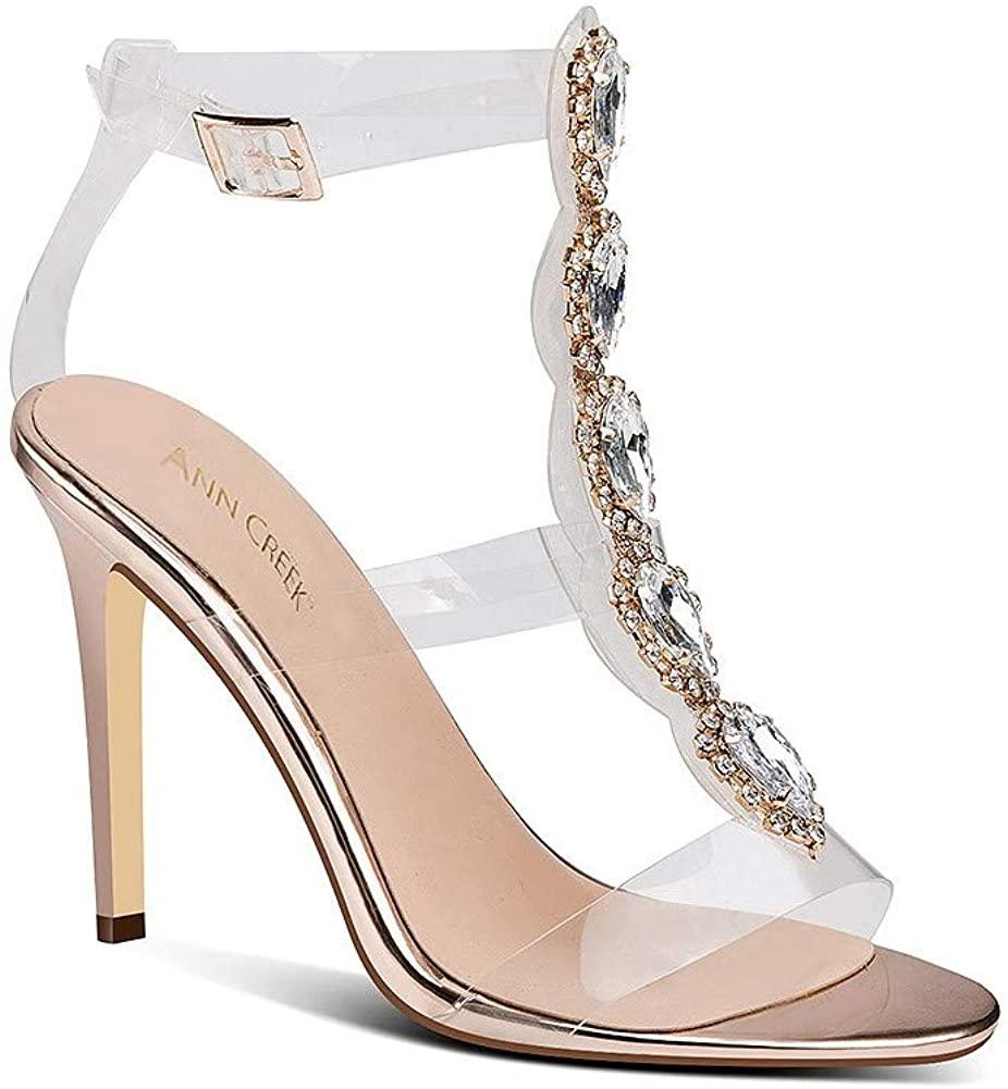 ANN CREEK Women's 'Lunsar' Handmade High Fashion Open Toe Rhinestone Goldtone Buckle Clear Strap Stiletto High Heel Sandals