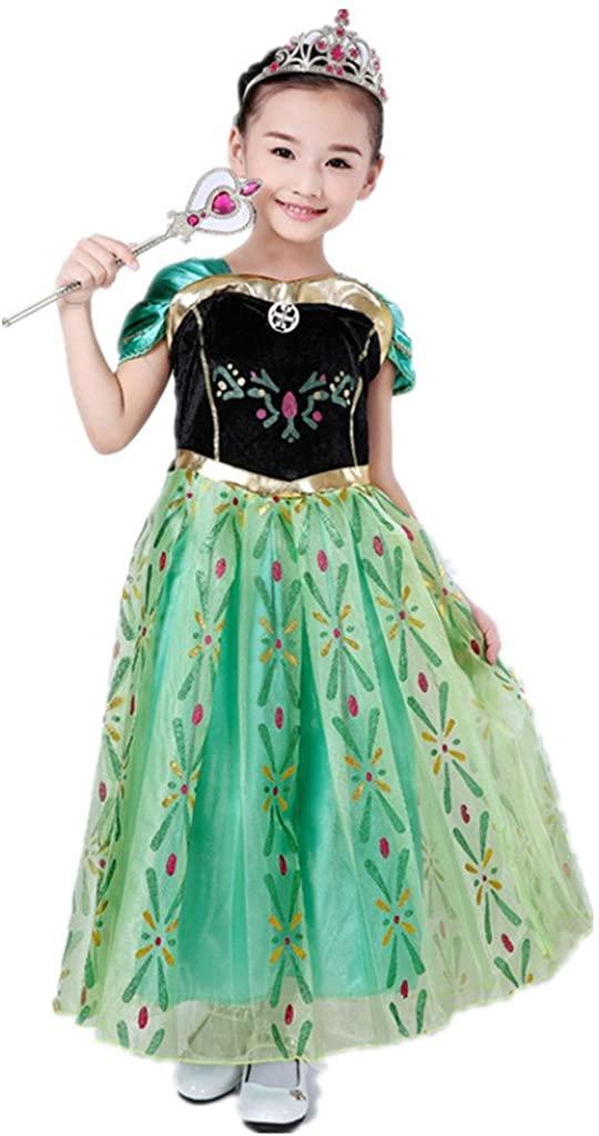 DreamHigh Little Girls Princess Cosplay Costume Dress 5/6, 5-6 Years, Green