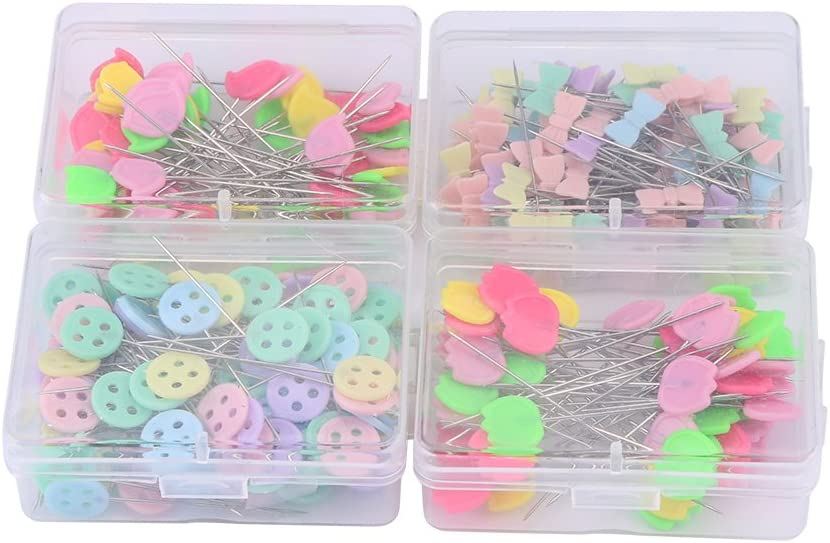 VIFERR 300 Pcs Quilting Pins Sewing Flat Head Straight Pins for DIY Sewing Jewelry Decoration(Type 2)