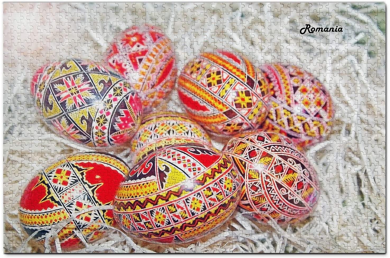 Romania Jigsaw Puzzle 1000 Piece Romania Easter Eggs Puzzle Travel Souvenir Wooden