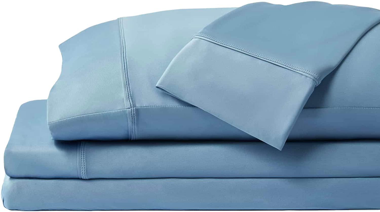 SHEEX Original Performance Sheet Set with 2 Pillowcases, Ultra-Soft Fabric Breathes Better Than Cotton (Split King, Carolina Blue)