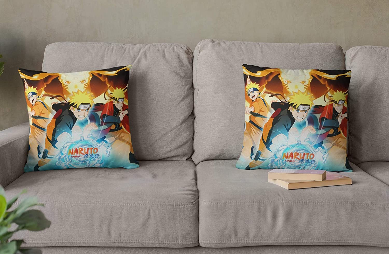 VASHU 2 Piece Naruto Square Throw Pillow Covers 18x18 inch Cushion Cases for Couch Sofa Living Room Decorative 45 x 45cm