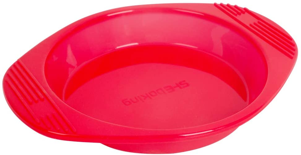 SHEbaking Round Cake Mold Nonstick & Quick Release Silicone Baking Mold, 8 Inch Cake Pan for Baking, Layer Cakes, Rainbow Cakes Bakeware Pans with Grips, Red