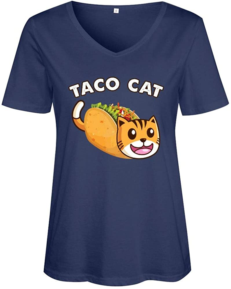 Women Funny Tacocat Shirt Novelty Graphic Print T Shirt Casual Cat Lover V Neck Tee Top