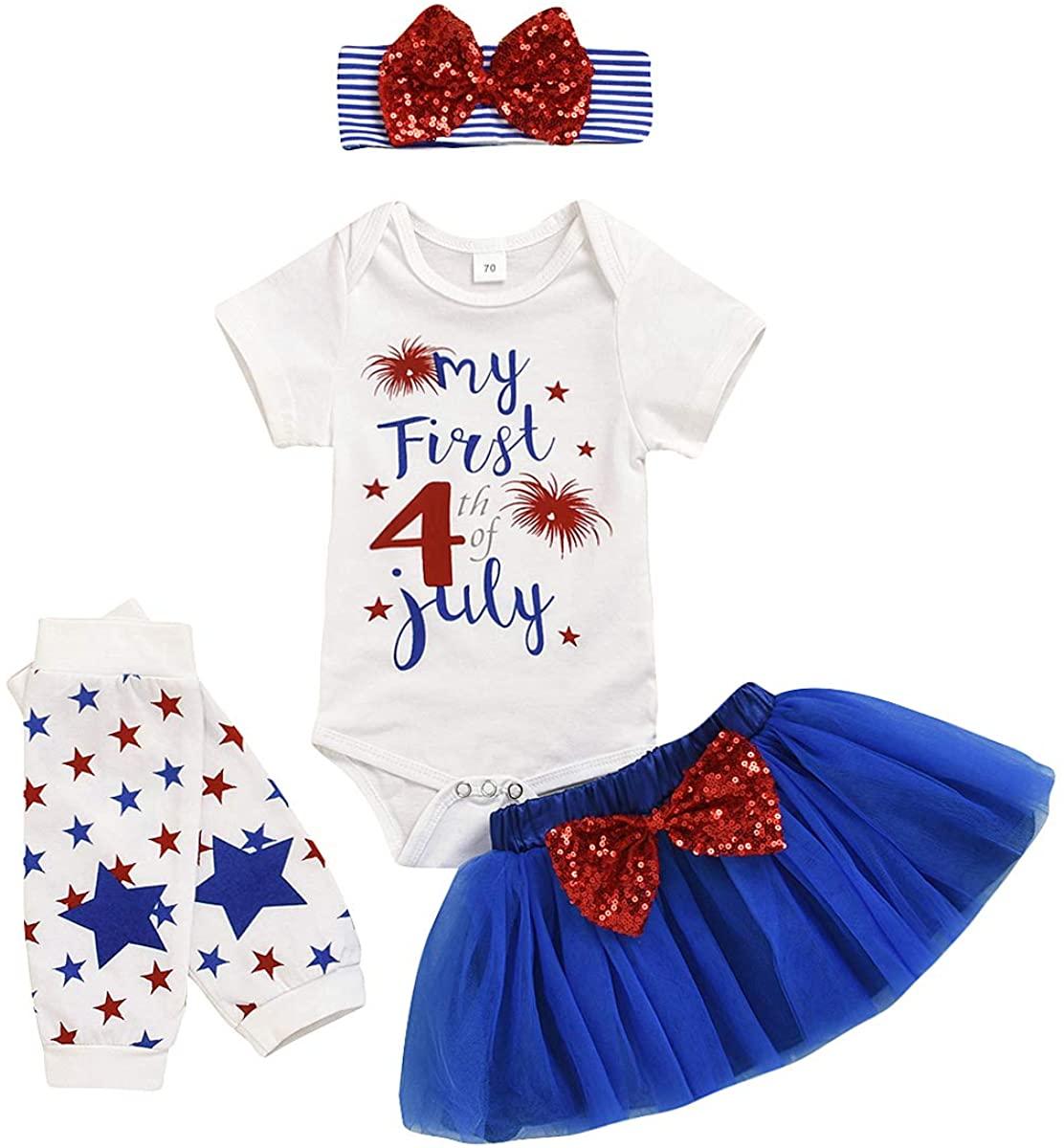 4PCS My First 4th of July Newborn Baby Girl Clothes Short Sleeve Letter Print Romper+Tulle Tutu Skirt+ Leg Warmer+Headband