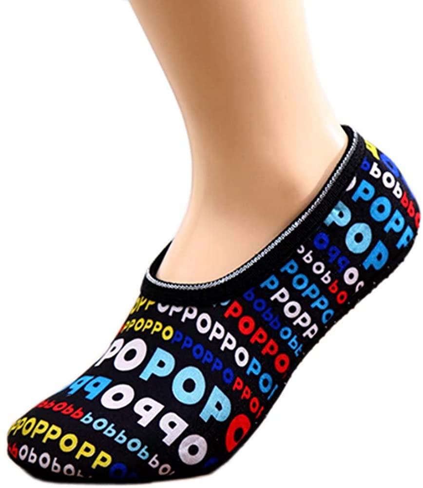 PANDA SUPERSTORE Creative Letter Grip Socks Winter Warm Socks for Yoga,Dance,Exercise,2 Pairs