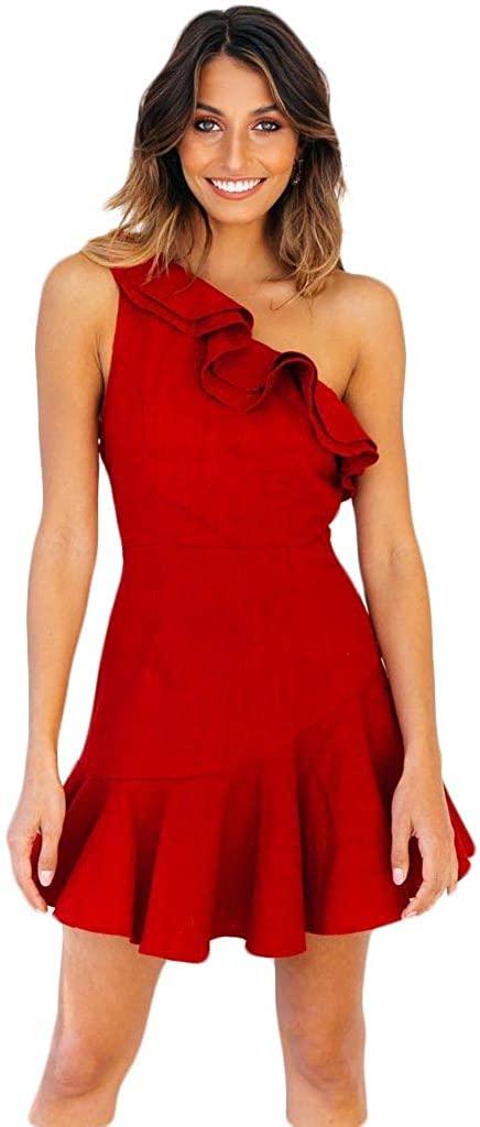 Lefthigh Pleated Skirt, Women Casual Cold Shoulder Lotus Leaf Short Sleeve Mini Dress