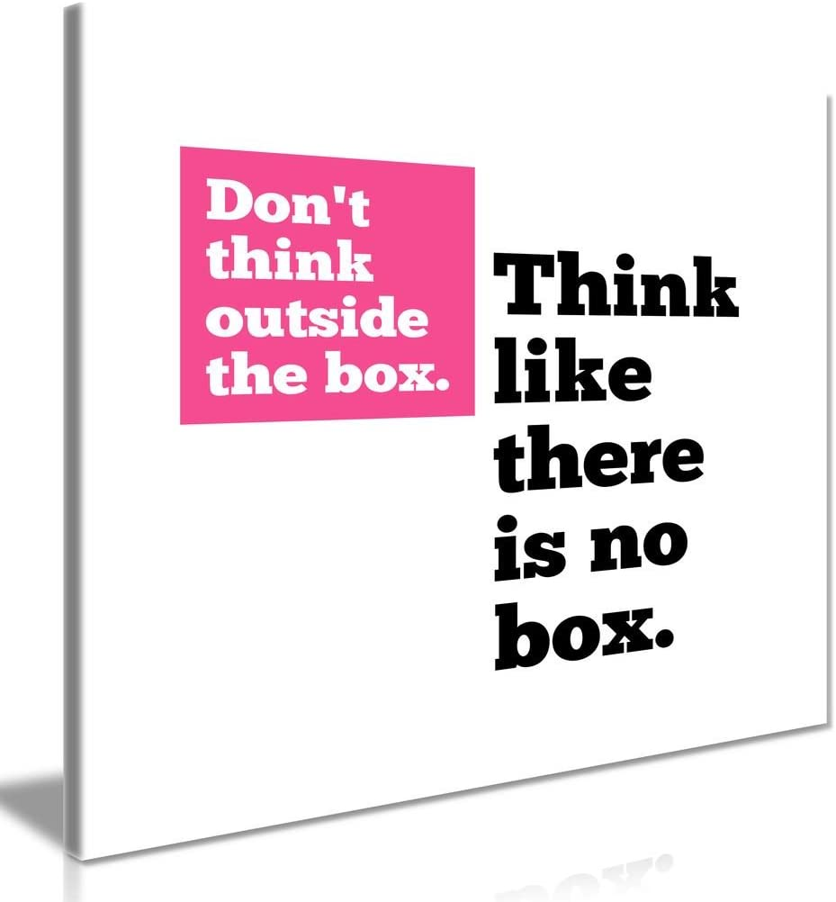 Motivational Quote Think Outside The Box Canvas Wall Art Picture Print (24 x 24 Inch)