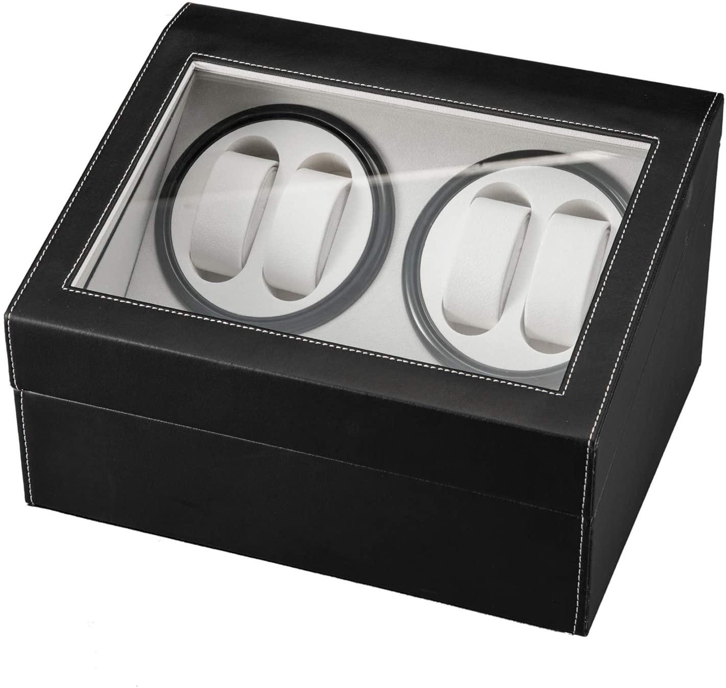 Jewelry Box for Women Display Case, Black Leather Watch Winder Storage Auto Display Case Box 4 6 Automatic Rotation U.S