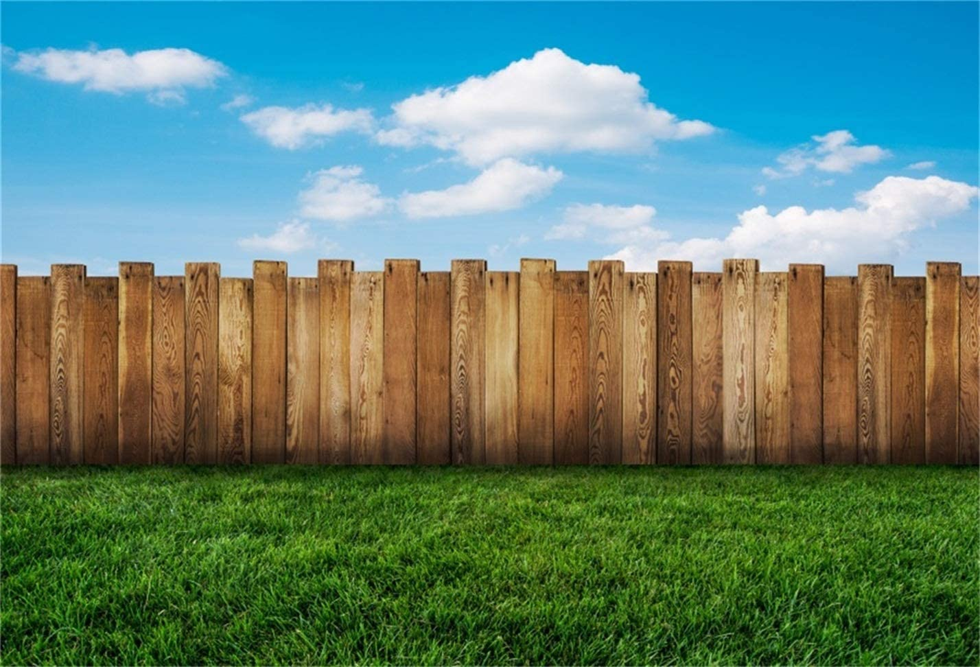 CSFOTO 7x5ft Meadow Background Wood Fence Blue Sky Spring Outdoor Picnic Backdrop for Photography Baby Shower Decor Banner Vacation Holiday Tourism Photo Wallpaper