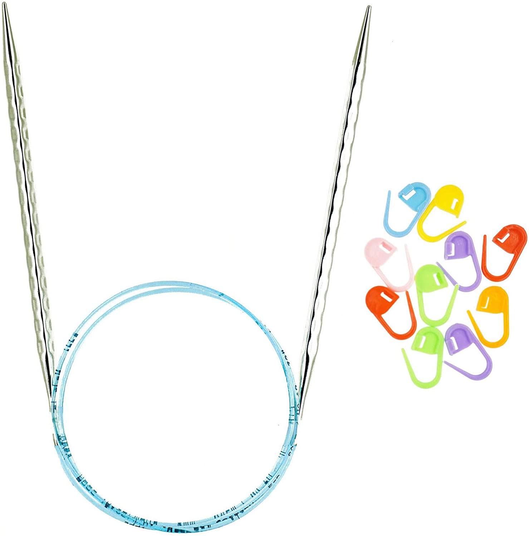 addi Knitting Needles Circular Rocket 2 Squared Turbo Blue Cord 32-inch (80cm) US 6 (4mm) Bundle with 10 Artsiga Crafts Stitch Markers