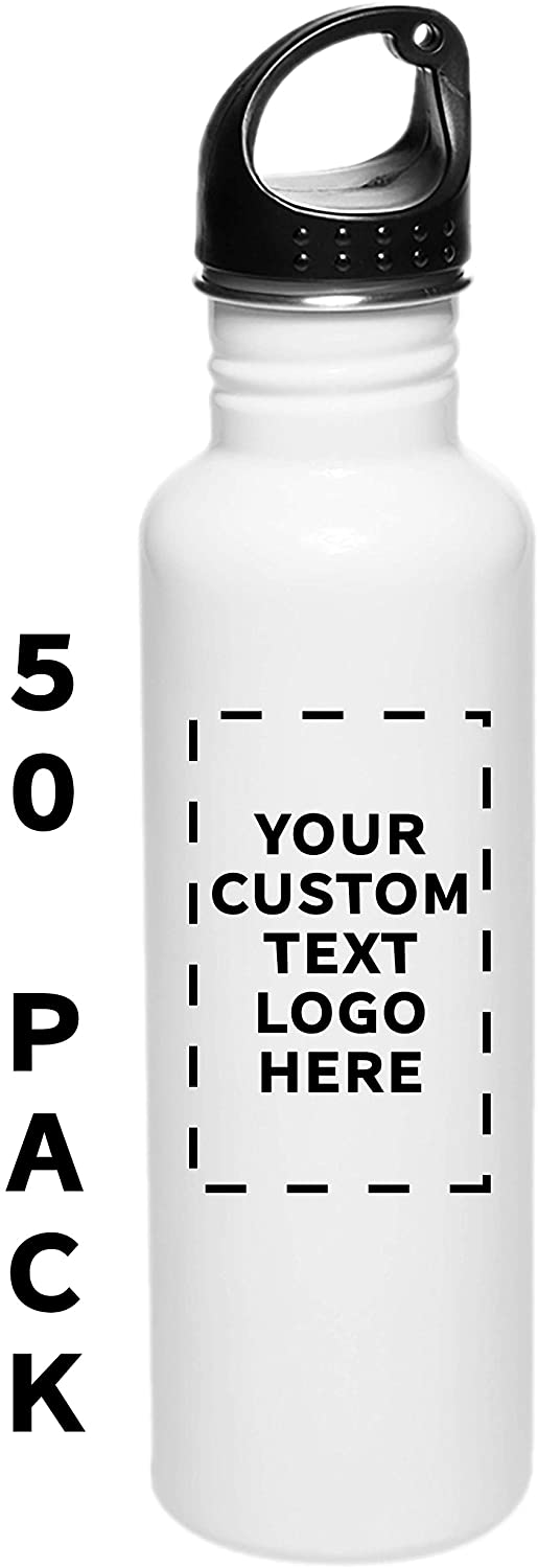 Sports Water Bottles - 26 oz - 50 pack - Customizable Text, Logo - Stainless Steel Bottle For Hiking, Biking, Outdoor Activity, Gym - White