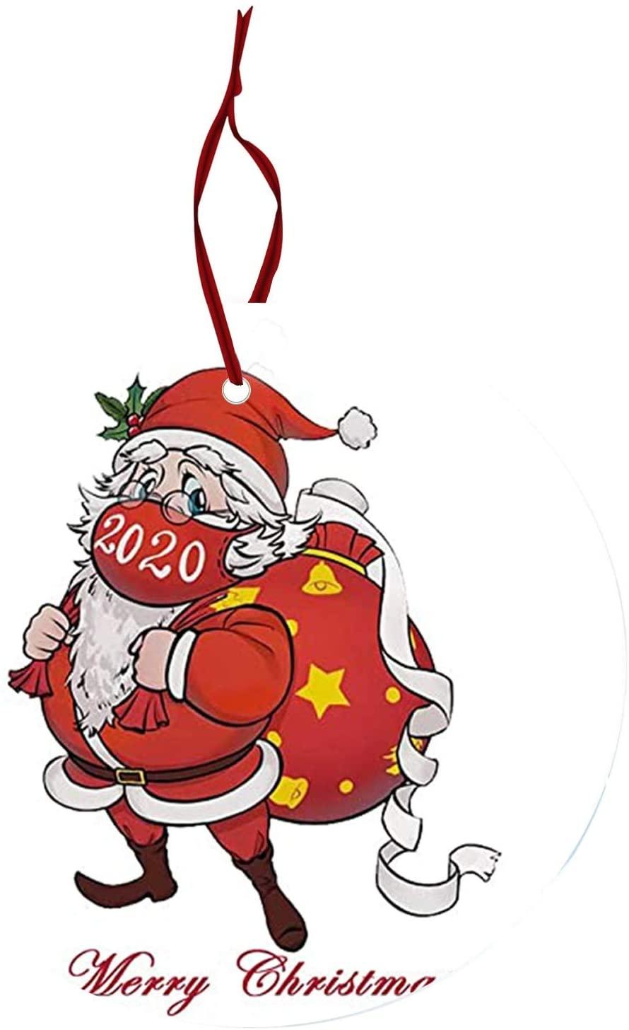 LebonYard 2020 Christmas Decorations with Masks 1PC Christmas Tree Ornaments Santa Claus Mask Souvenir Ornament Holiday Decor (I)