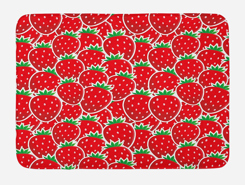 Ambesonne Fruits Bath Mat, Strawberry Themed Botany Yummy Food Organic Growth Diet Health Print, Plush Bathroom Decor Mat with Non Slip Backing, 29.5