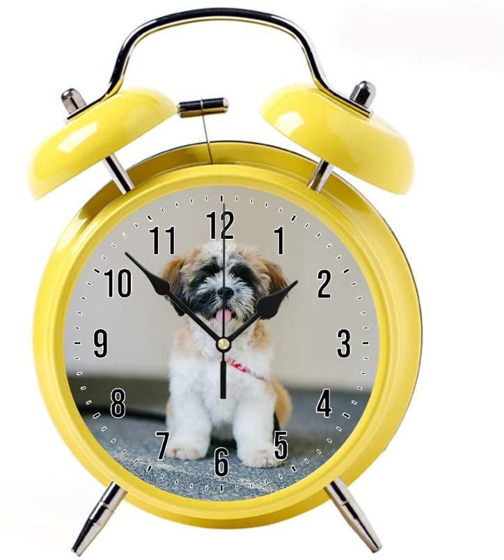 COPUEA Creative Child Retro Alarm Clock Twin Bell Alarm Clock Backlight Desk Clock Yellow Alarm Clock GiftWhite, Brown, and Black Shih Tzu Puppy