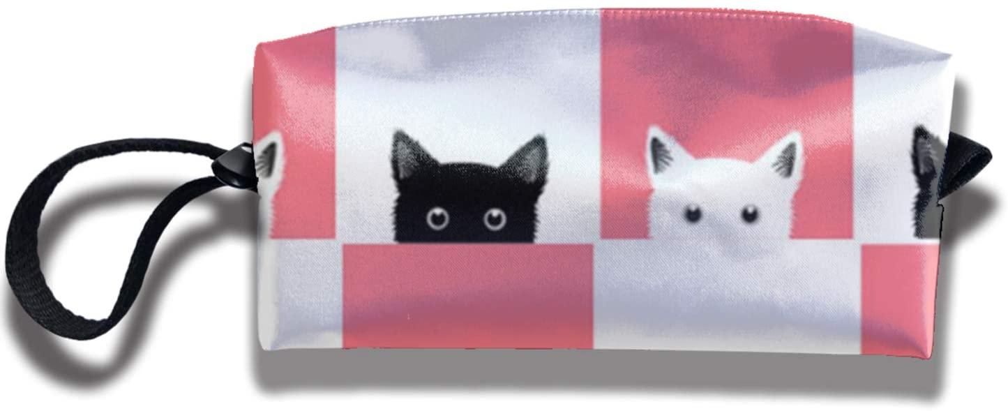 antkondnm Black and White Pink Cat Checkerboard Travel Handbag Cosmetics Bag Case Purse Travel Home Portable Make-Up Receive Bag
