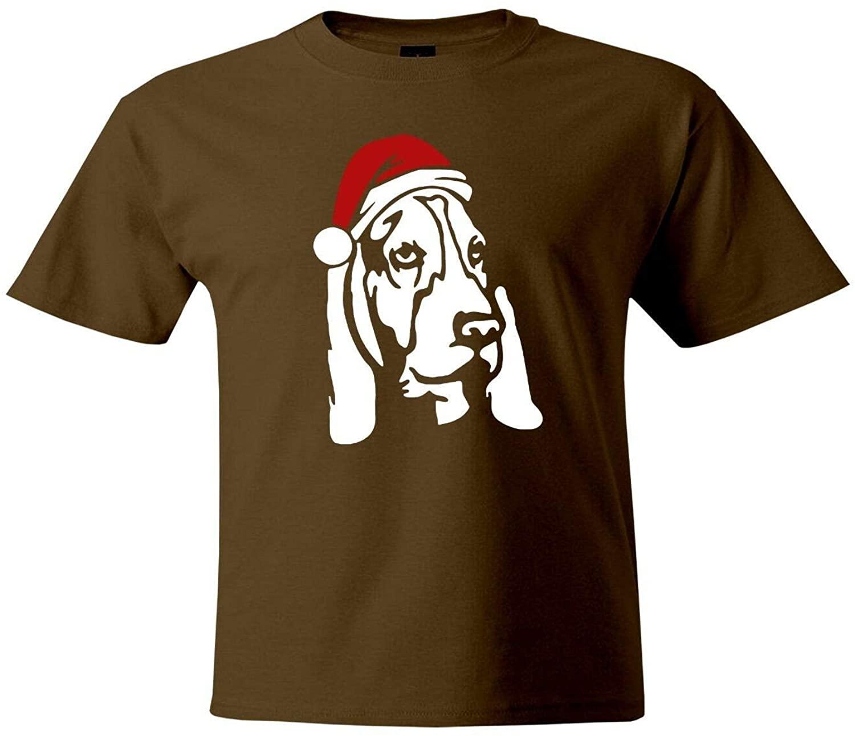 THURDY8 Design Basset Hound Cute Dog Santa Hat Unisex Mens Women Crew Neck Tee T-Shirt