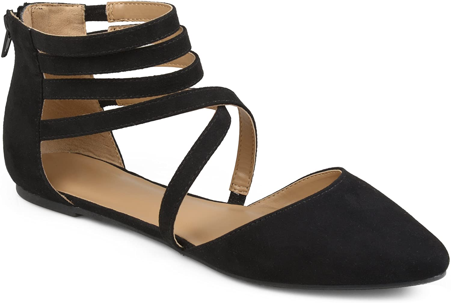 Journee Collection Womens Wrap Strap Faux Suede Flats Grey