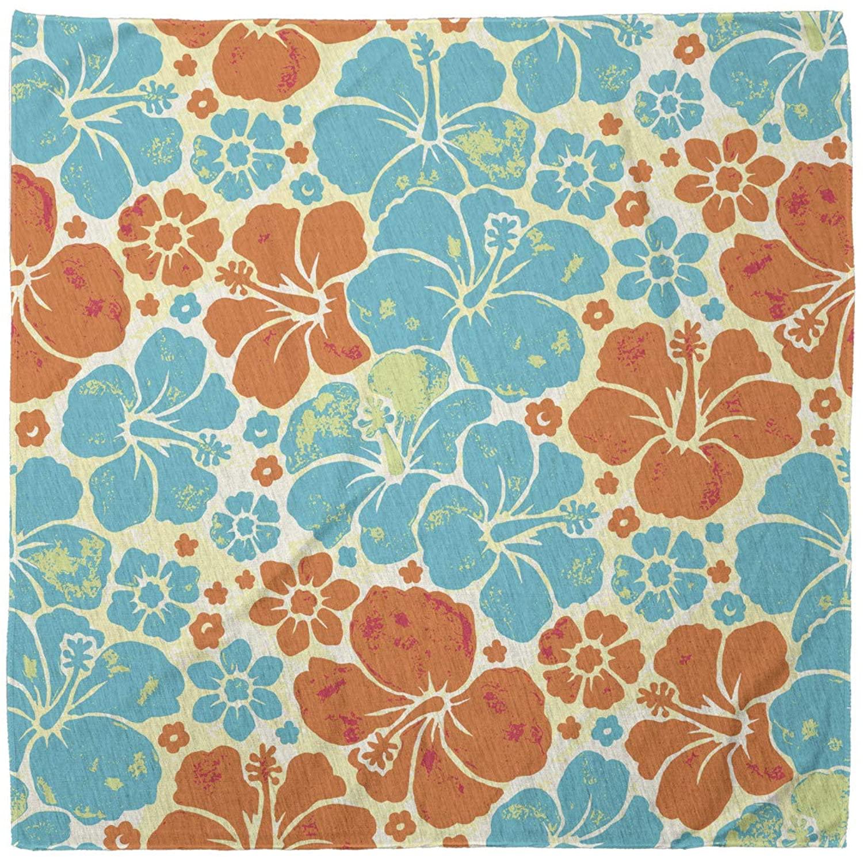 Lunarable Bandana Scarf, Tropical Hibiscus Silhouette, Pale Blue Orange