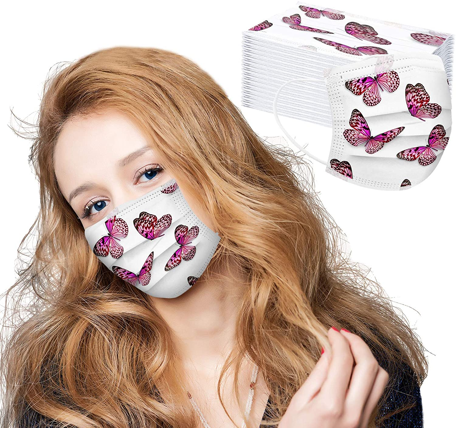 NMSLCNM 50Pcs Adult Disposable Face_Mask, Fashion Butterfly Printed 3Ply Breathable Face_Masks with Nose Bridge Strip for Women Anti-Dust Protection