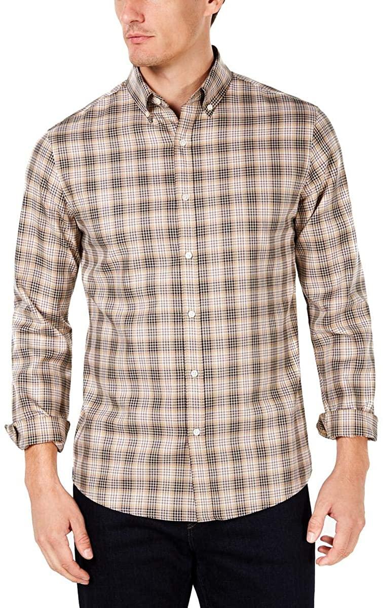 Michael Kors Mens Tencel Plaid Button Up Shirt